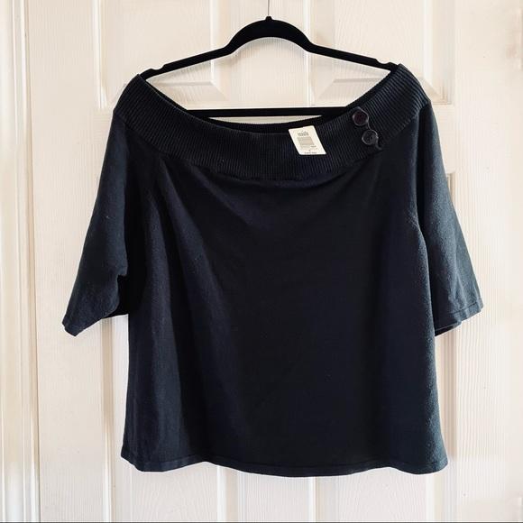 NWT TORRID Bardot Off Shoulder Sweater w/Buttons